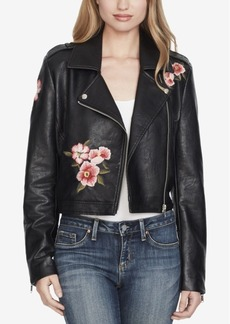 Jessica Simpson Embroidered Faux-Leather Moto Jacket