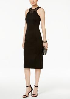 Jessica Simpson Embroidered Halter Sheath Dress