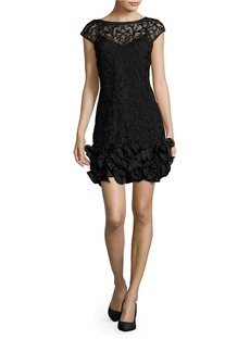 JESSICA SIMPSON Embroidered Ruffled Sheath Dress
