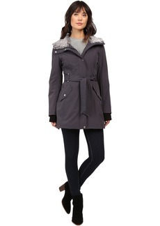 Faux Fur Lined Hood Belted Softshell