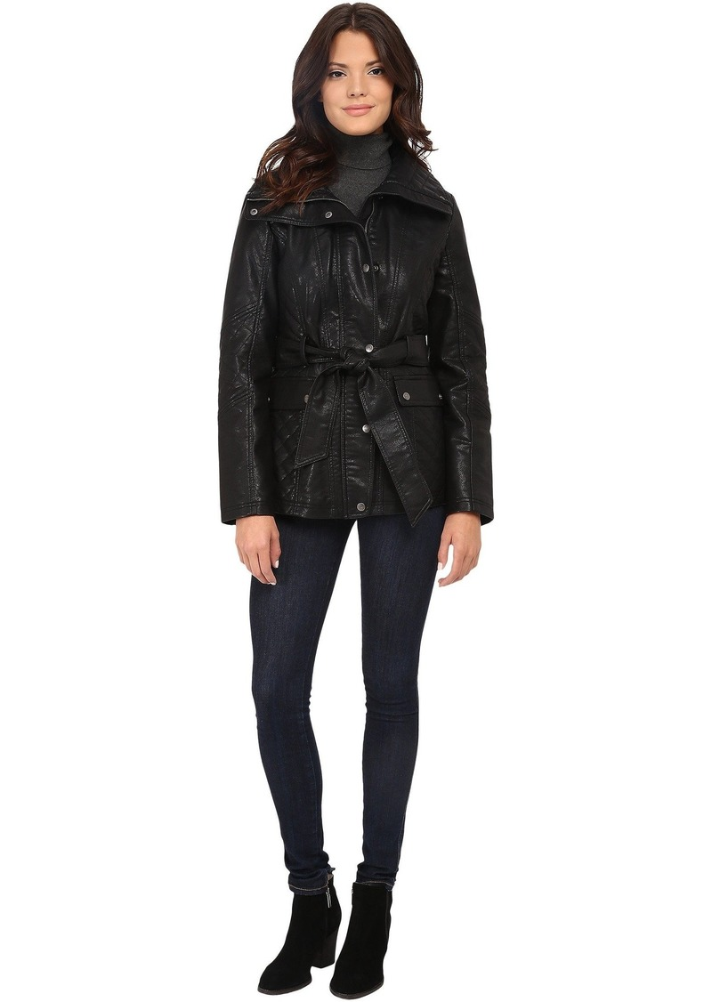 Jessica Simpson Faux Leather Zip Front and Snap Quilt Belted Jacket