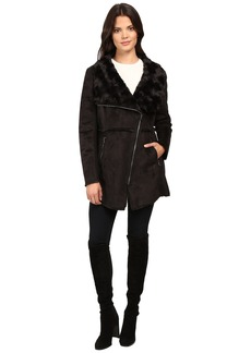 Jessica Simpson Faux Shearling Moto Jacket with Asymmetrical Zip