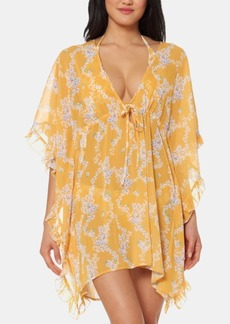 Jessica Simpson Floral Frill-Side Chiffon Cover-Up Dress Women's Swimsuit