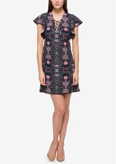 Jessica Simpson Floral Lace-Up Flutter-Sleeve Dress