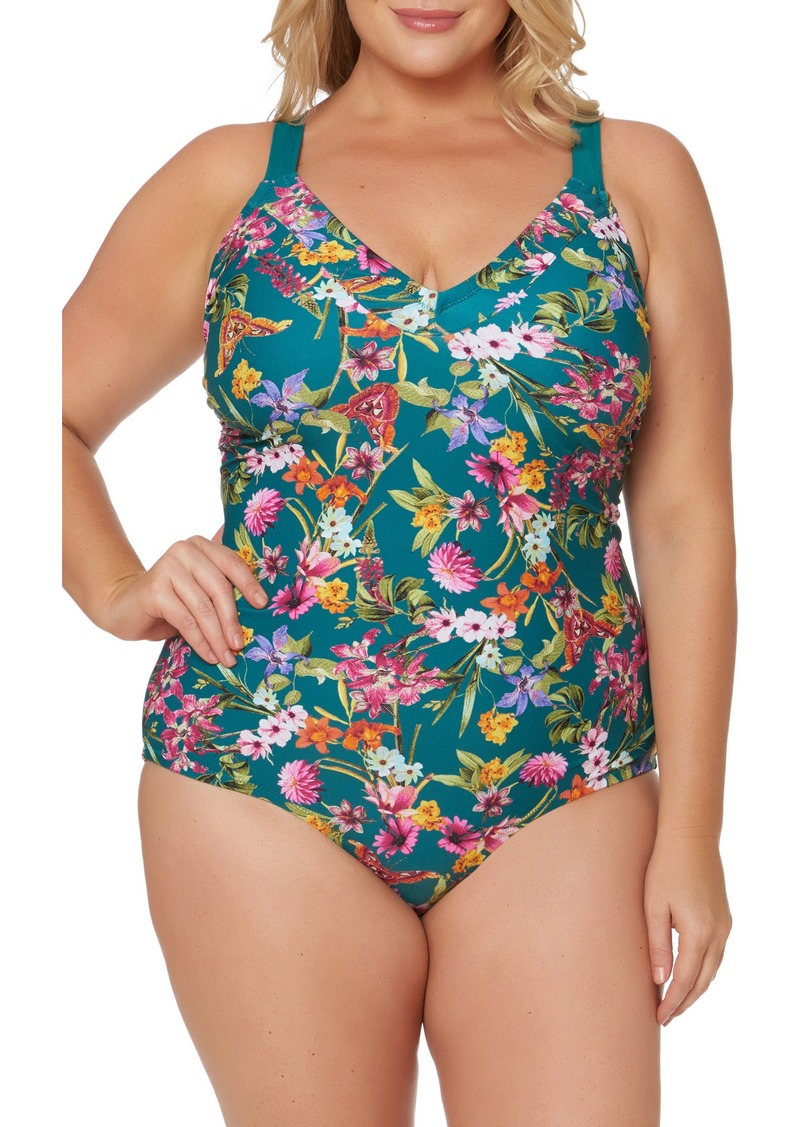 5e3ab23011b4f Jessica Simpson Floral Print Tie Back One-Piece Swimsuit (Plus Size)