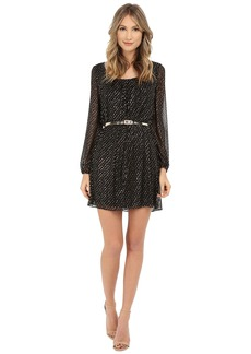 Jessica Simpson Foiled Mesh Long Sleeve Dress with Gold Belt