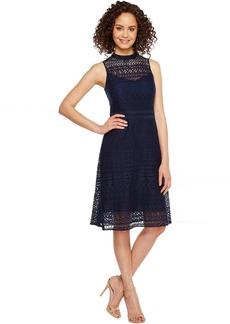 Jessica Simpson Geo Lace Mock Neck Dress JS7A9590