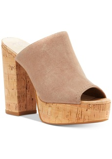 Jessica Simpson Giavanna Cork Block-Heel Platform Slides Women's Shoes