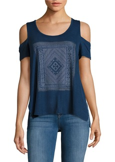 JESSICA SIMPSON Graphic Cold Shoulder Top