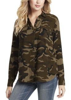 Jessica Simpson Junior Petunia Twill Button Up Shirt Top