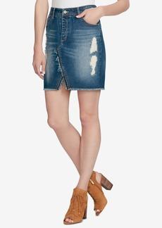 Jessica Simpson Juniors' Adorn Cotton Ripped Denim Skirt