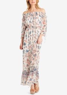 Jessica Simpson Juniors' Dahlia Printed Off-The-Shoulder Maxi Dress