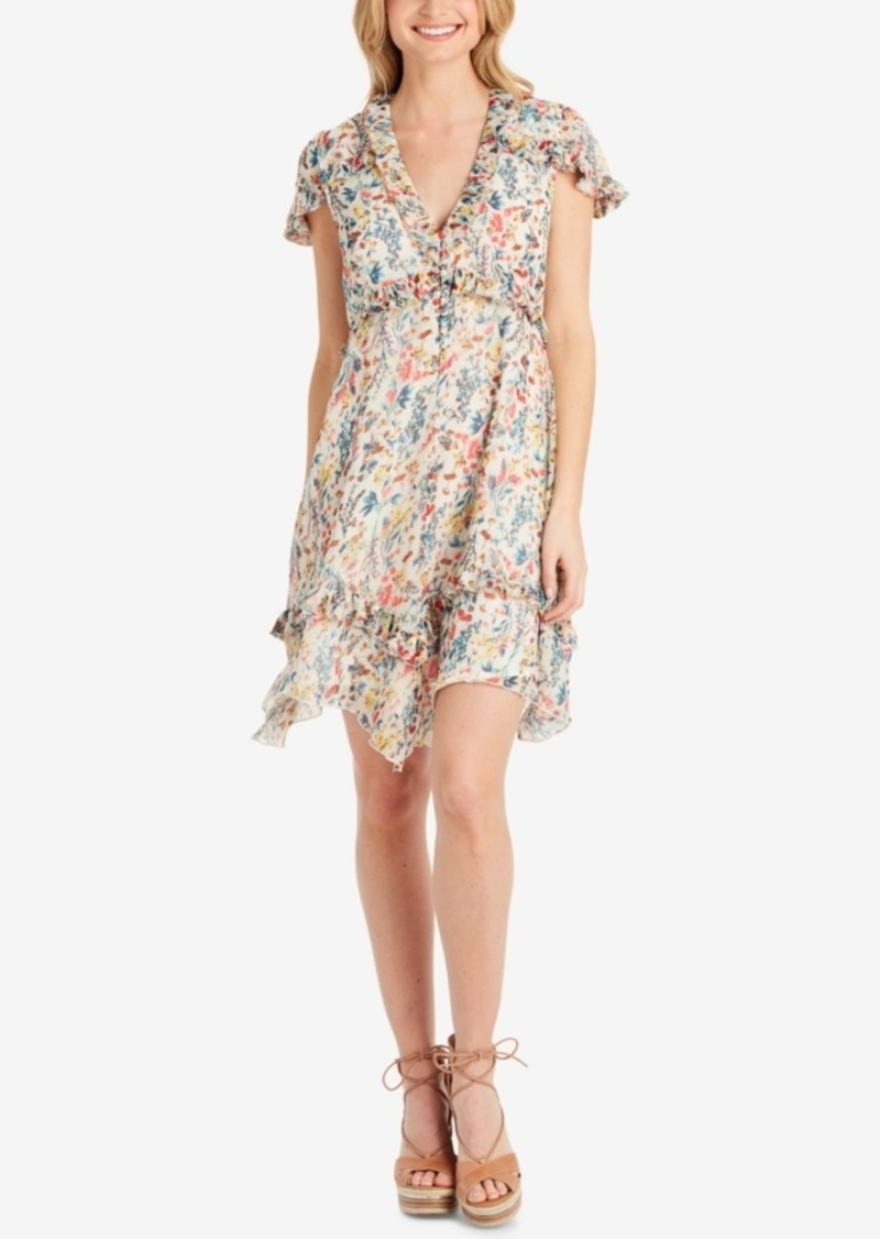 Jessica Simpson Juniors' Floral-Print Ruffle-Trim Dress