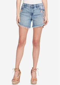 Jessica Simpson Juniors' Mika Best Friend Embroidered Denim Shorts