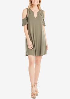 Jessica Simpson Juniors' Perlie Cold-Shoulder Keyhole Dress