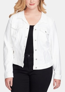 Jessica Simpson Juniors' Pixie Plus Size White Denim Jacket