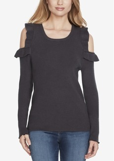 Jessica Simpson Juniors' Ruffled Cold-Shoulder Sweater
