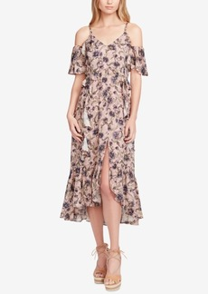 Jessica Simpson Juniors' Yasmin Printed Cold-Shoulder Midi Dress