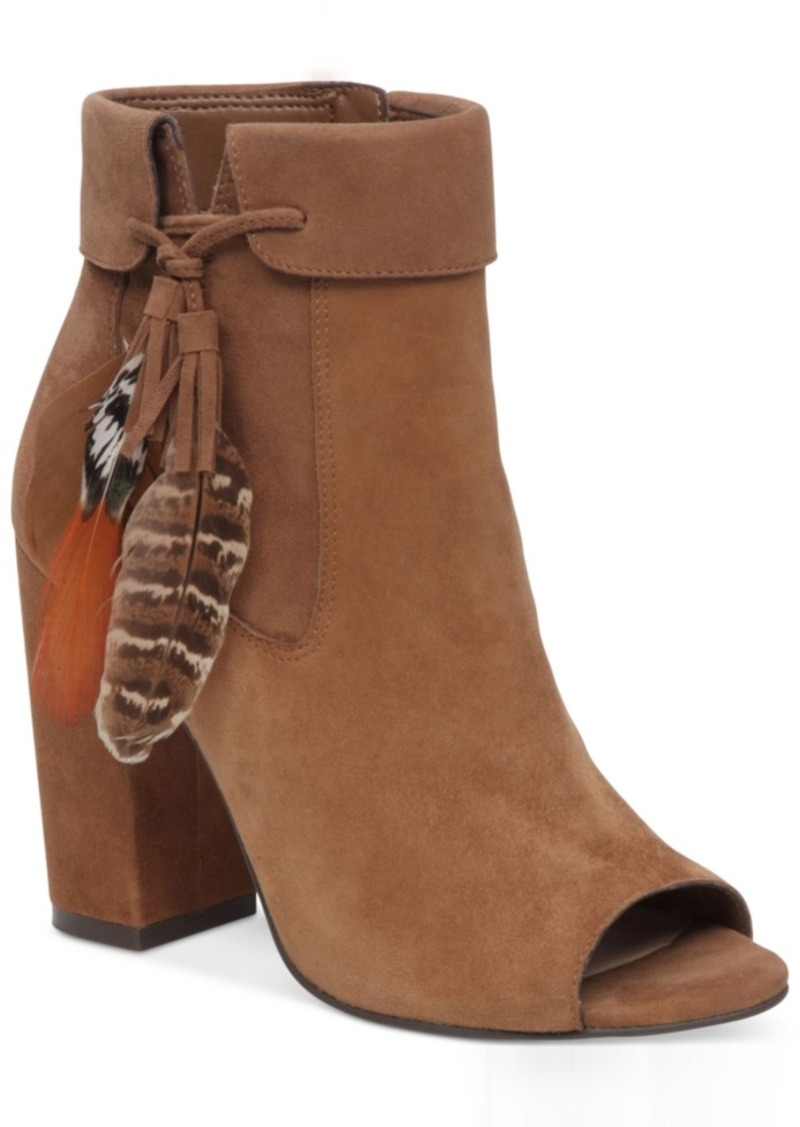 c5a9b39fdd24 Jessica Simpson Kailey Feather-Detail Peep-Toe Block-Heel Booties Women s  Shoes