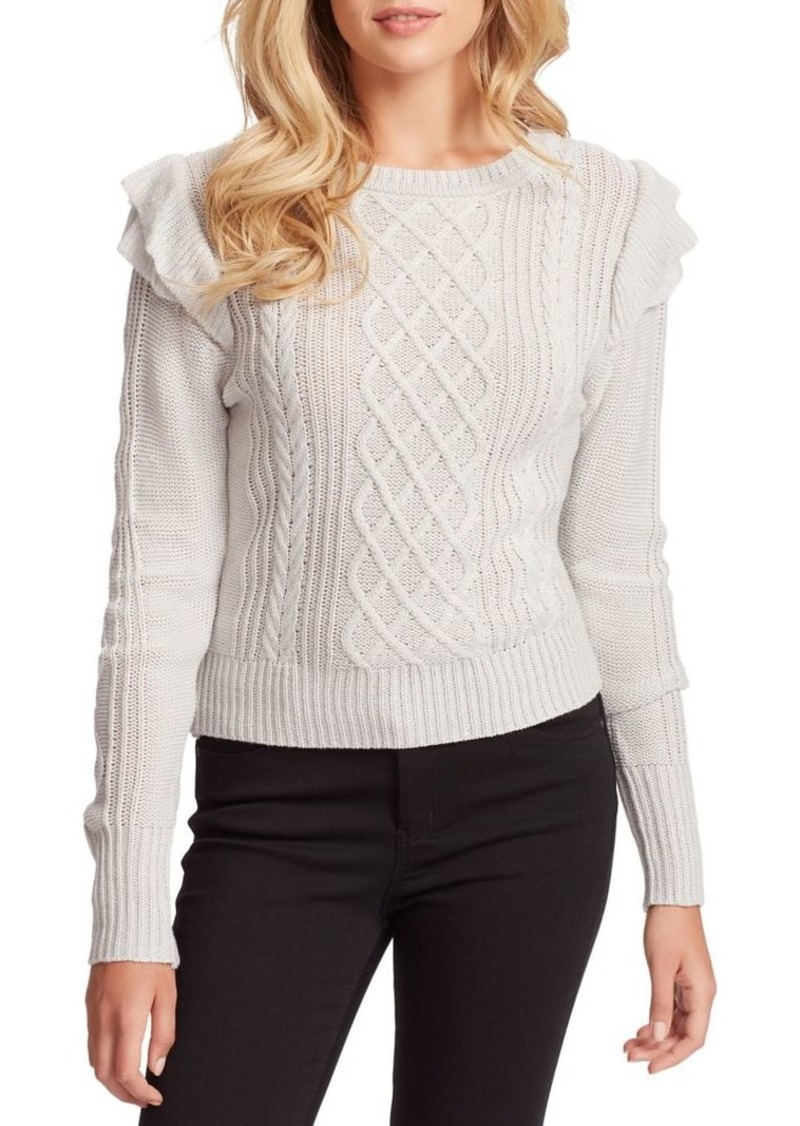Jessica Simpson Kathy Ruffle Neck Cable Sweater