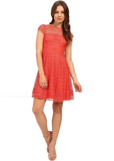 Jessica Simpson Lace Cap Sleeve Fit & Flare Dress JS6T8820