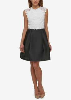 Jessica Simpson Lace Colorblocked Fit & Flare Dress
