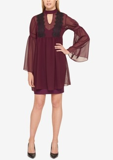 Jessica Simpson Lace-Trim Bell-Sleeve Chiffon Dress