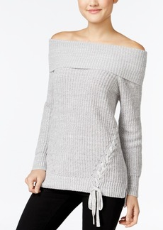 Jessica Simpson Lace-Up Off-The-Shoulder Sweater