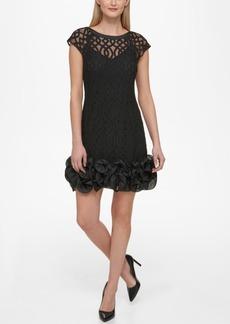 Jessica Simpson Lattice-Overlay Ruffled Dress