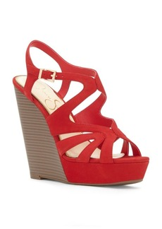 Jessica Simpson Leather Wedge-Heel Sandals