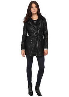 Jessica Simpson Long Faux Leather Moto Jacket with Faux Shearling