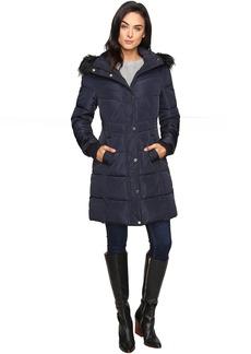 Long Puffer w/ Waist Detail Hood and Faux Fur