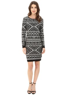 Jessica Simpson Long Sleeve Knit Dress with Aztec Print