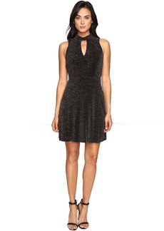 Jessica Simpson Lurex Gliter Dress with Mock Neck