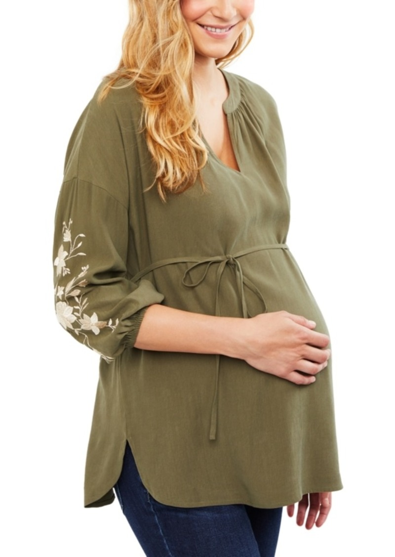 Jessica Simpson Maternity Embroidered Babydoll Blouse