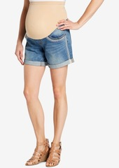 Jessica Simpson Maternity Embroidered Denim Shorts