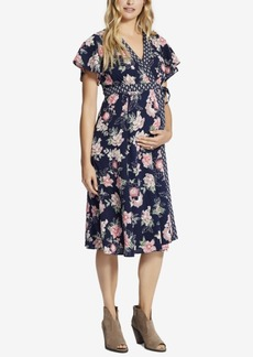 Jessica Simpson Maternity Floral-Print Wrap Dress
