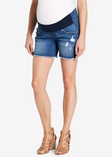 Jessica Simpson Maternity Frayed-Hem Denim Shorts