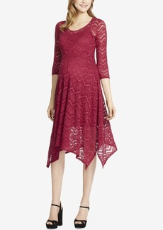 Jessica Simpson Maternity Lace Handkerchief-Hem Dress