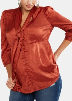 Jessica Simpson Maternity Tie-Neck Blouse