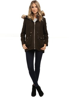 Melton Touch Anorak Coat with Faux Fur