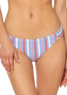 Jessica Simpson Miami Stripe Side-Shirred Bikini Bottom