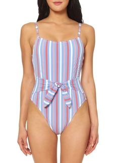 Jessica Simpson Miami Stripe Tie-Front 1-Piece Swimsuit