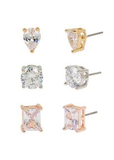 Jessica Simpson Mixed Cubic Zirconia Stone Stud Earrings Set