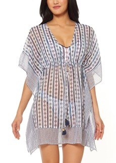 Jessica Simpson Moroccan Stripe Printed Caftan Swim Cover-Up Women's Swimsuit