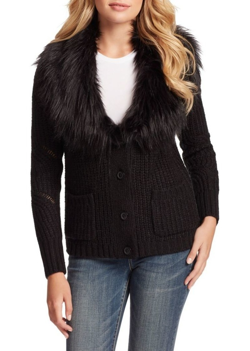 Jessica Simpson Oaklyn Faux Fur Collar Cardigan