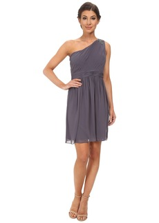Jessica Simpson One Shoulder Pleated Dress Stone