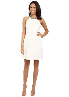Jessica Simpson Ottoman Solid Dress with Gold Neck Trim JS6D8550