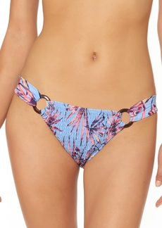 Jessica Simpson Palmy Days Printed O-Ring Smocked Bikini Bottoms Women's Swimsuit