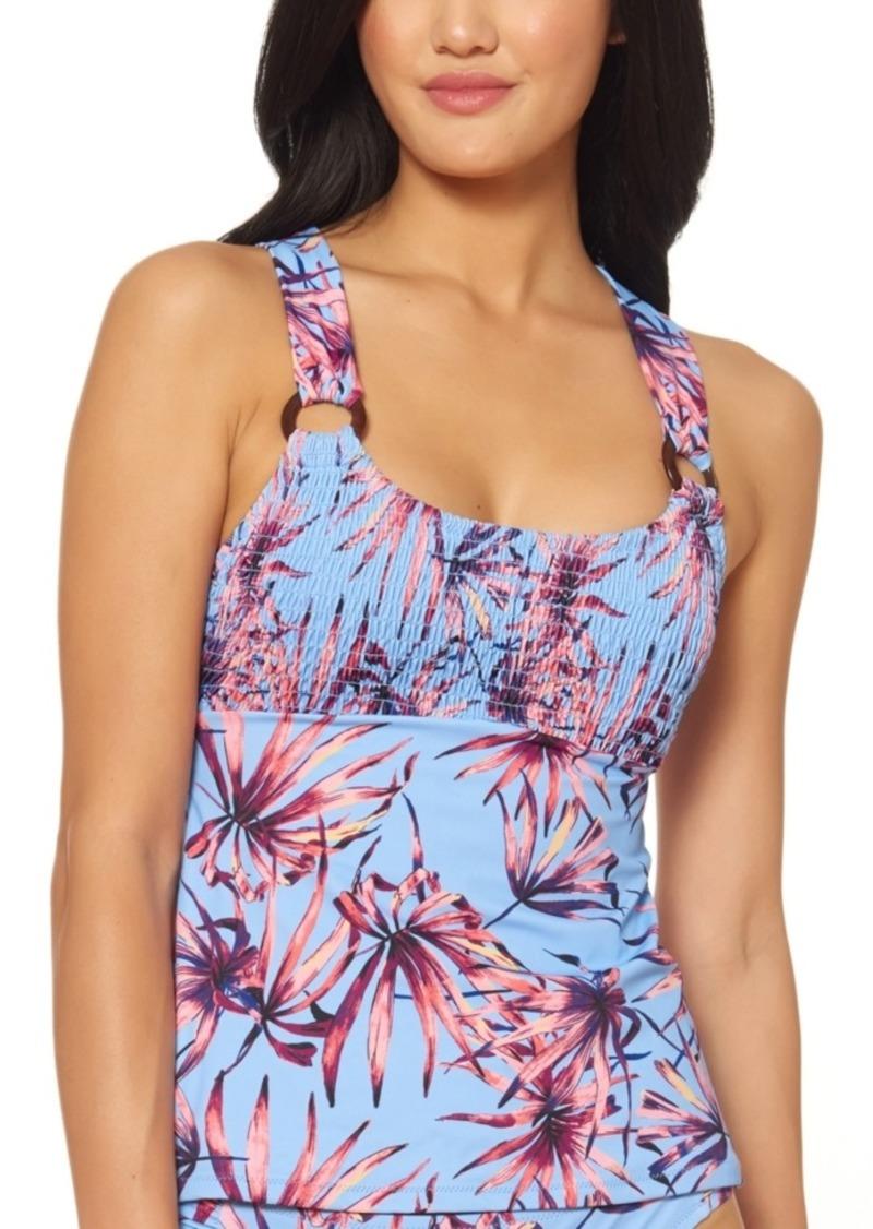 Jessica Simpson Palmy Days Printed Smocked Top O-Ring Tankini Top Women's Swimsuit